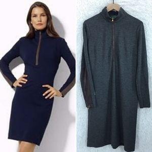 Gray Sweater Dress Leather Sleeves Ralph Lauren